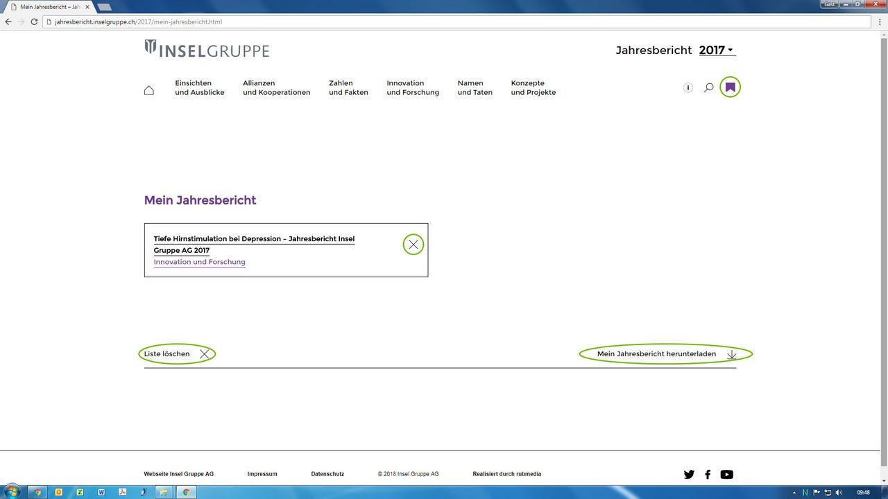 Die Funktion «Mein Jahresbericht» ermöglicht das Herunterladen ausgewählter Artikel in einem PDF.